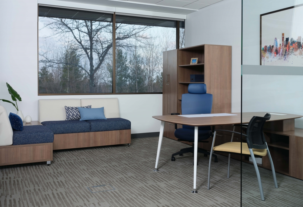 Preview of Calibrate Casegoods with Natick with Headrest Seating and Grafton chair. Also shown with LB Lounge seating.