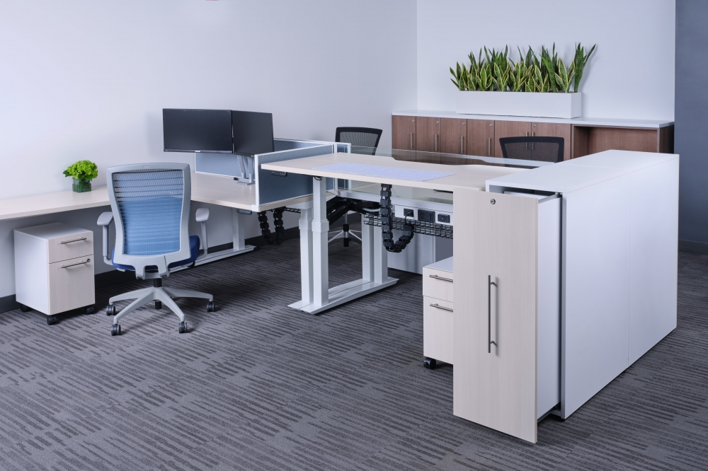 Preview of Aloft at seated and standing height. Shown with Calibrate storage tower and Natick Task Seating
