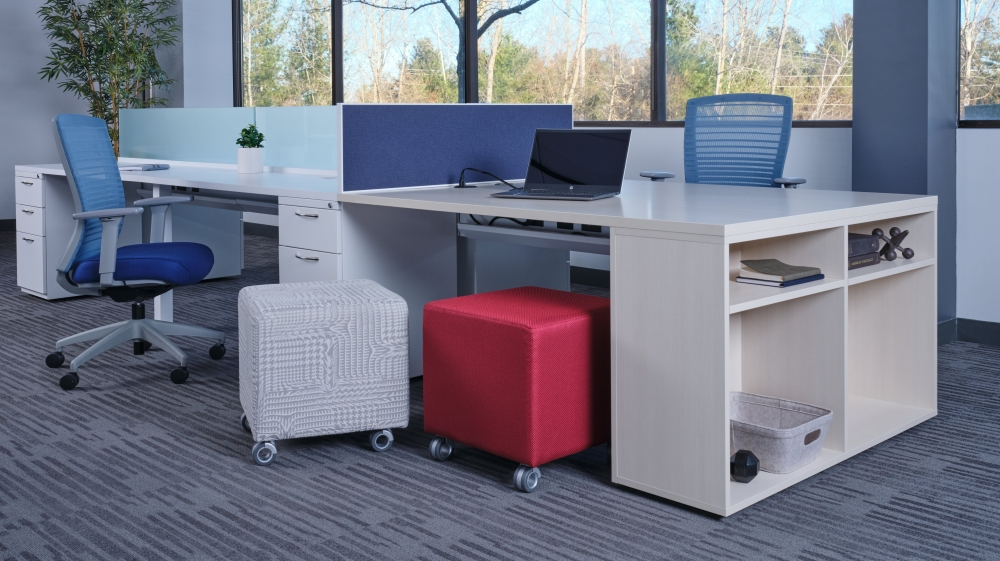 Preview of PowerBeam with L Series Files and Calibrate bookcase support, shown with Natick Seating