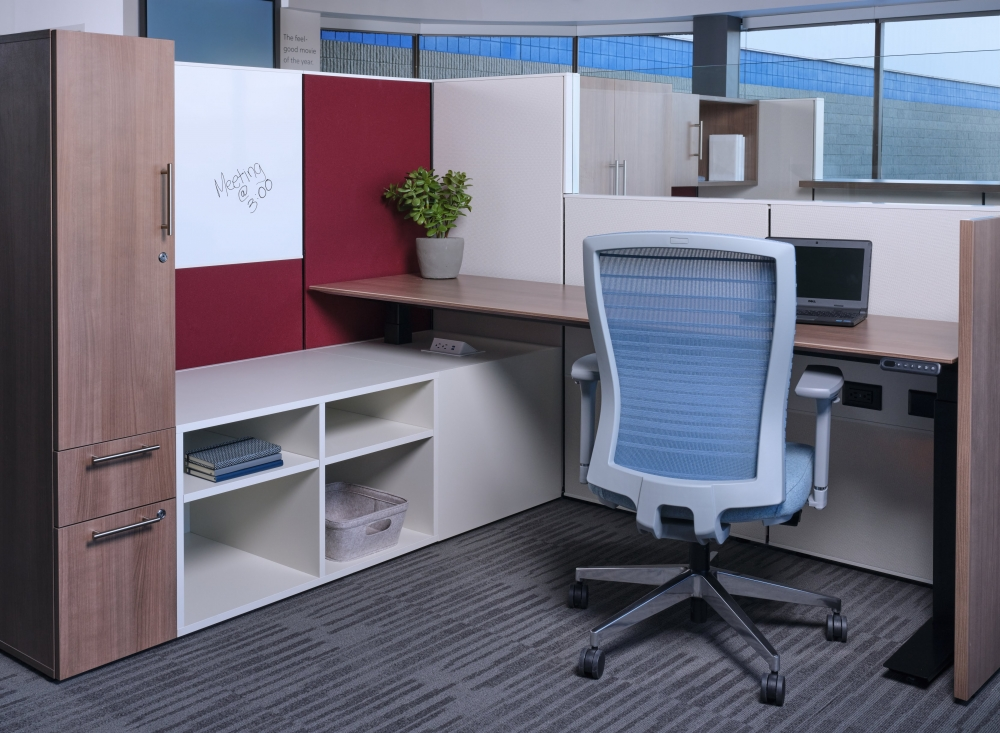 Preview of Matrix with Calibrate Height Adjustable Table, Lower Storage and Tower. Shown with Natick Task seating.