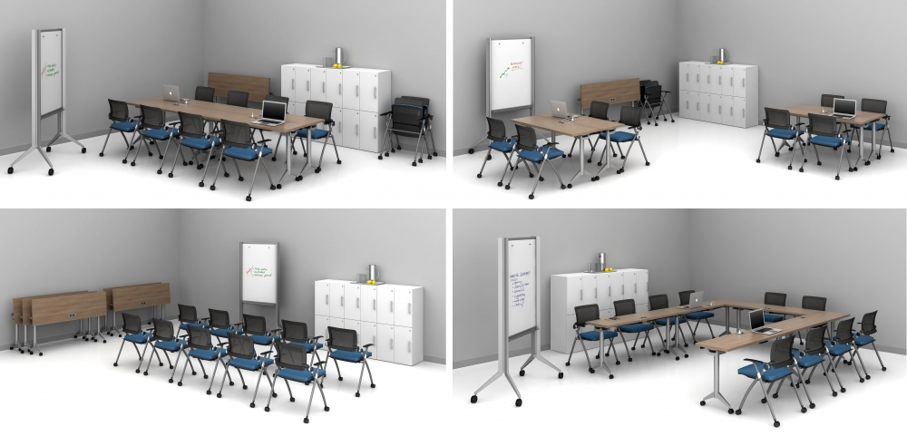 """Preview of Day-to-Day 18"""" Flip-Top Tables and Stow seating shown 4 ways in one room"""