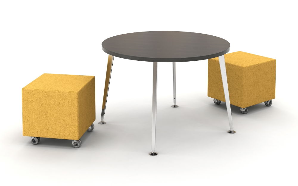 "Preview of Day to Day 42"" Round Table with Tapered Legs. Shown with Volker Cubes"