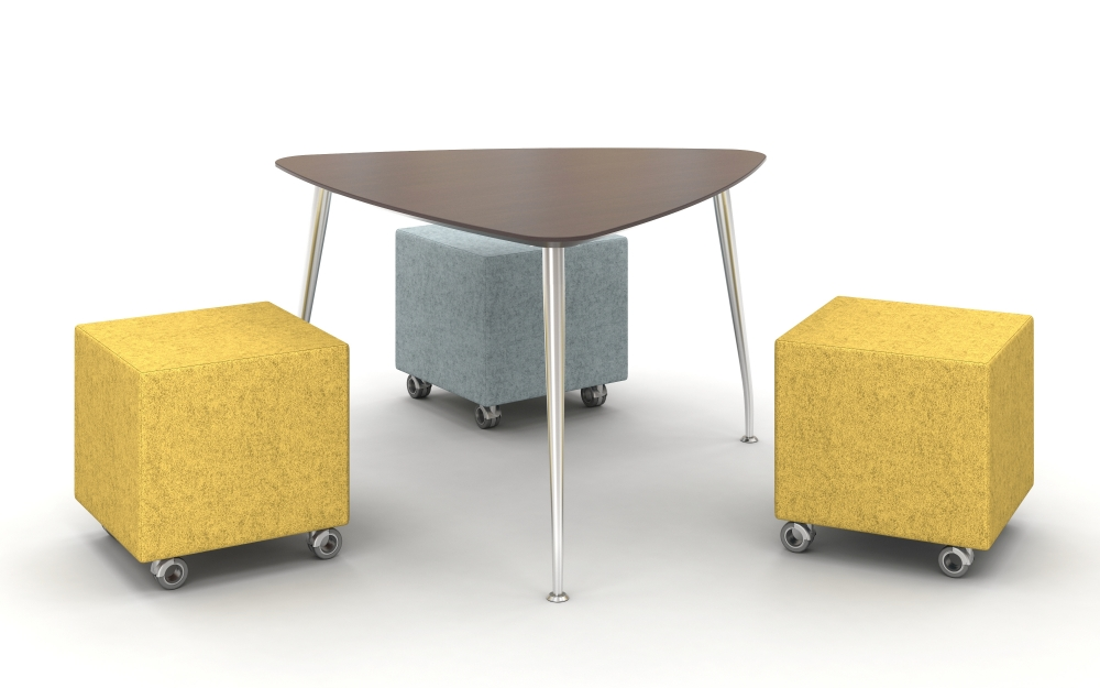 Preview of Day to Day Triangle Top Table with Slim Legs in Polished Aluminum with Volker Seating