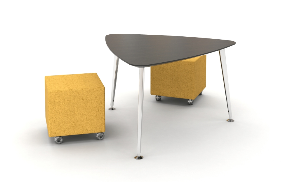 Preview of Day to Day Triangle Top Table with Reverse Knife Edge and Tapered Legs in Polish Aluminum, shown with Volker Cubes