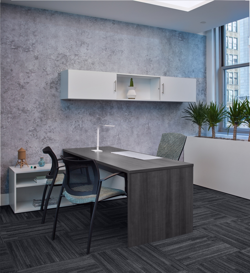 Preview of Calibrate Series Casegoods Private Office with Table Run off, Wall Mounted Storage and Grafton Side Seating