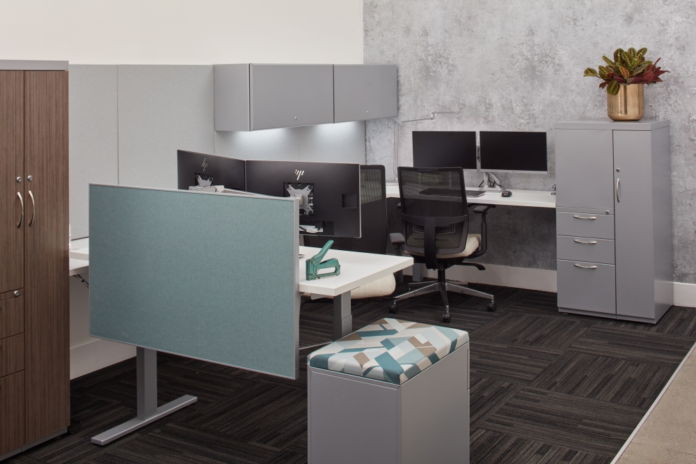 Preview of Height Adjustable Workstations with Side Mount Privacy Panel, Steel Storage and Devens Task Seating