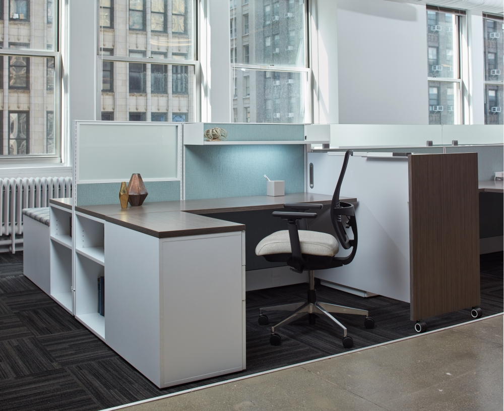 Preview of Divi Open Plan Panel System Workstation with Custom Whiteboard Divider, Devens Task Seating
