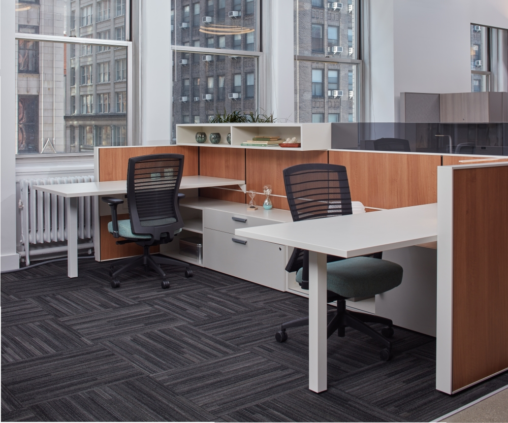 Preview of Matrix Panel System with Laminate Tiles, Recessed Frameless Glass Mounted Screens, and Natick Task Seating, Calibrate Storage Lateral Files