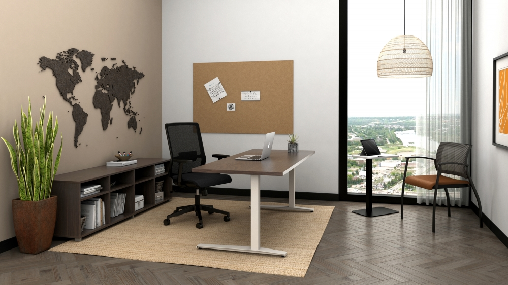 Preview of Day-to-Day C Leg Table with Essex Task and Grafton Side Seating, shown with Calibrate Bookcase