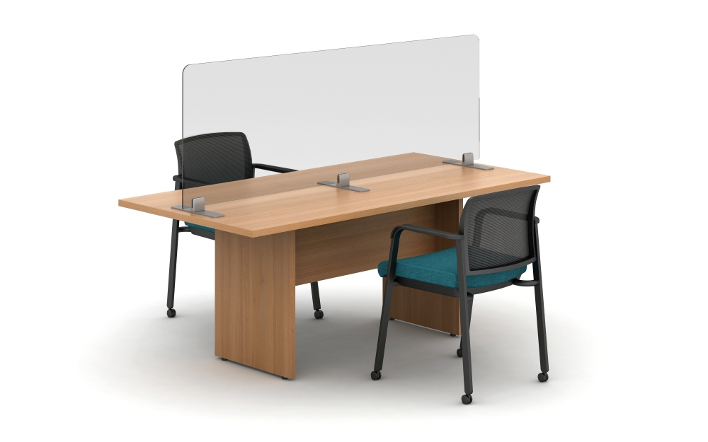 "Preview of Calibrate Conference Table with Freestanding Clip Supported Lexan Screen at 28"" High"