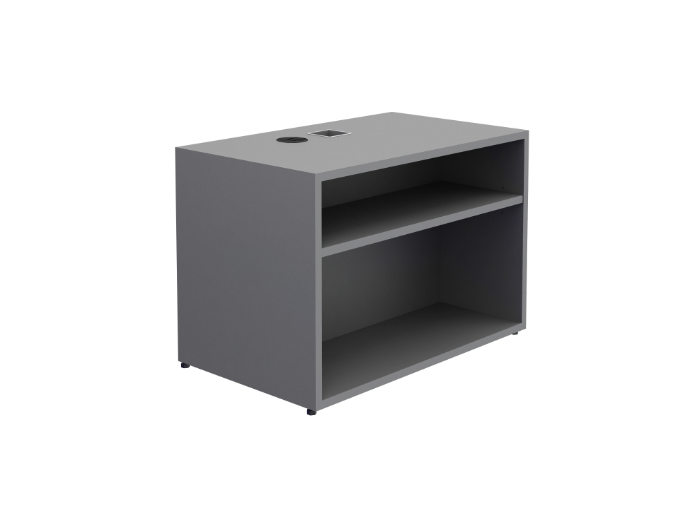 "Preview of Calibrate Storage Height Adjustable Table Base with Bookcase 24"" x 18"" in Absolute Acajou"