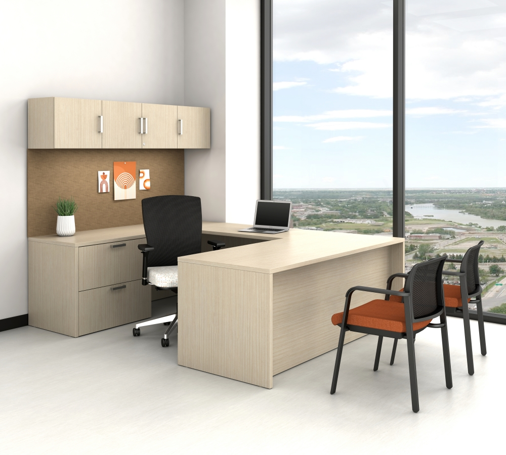 Preview of Calibrate Casegoods with Overhead Storage and Wrap Around Desk; Shown with Natick Task and Paxton Guest Sesting