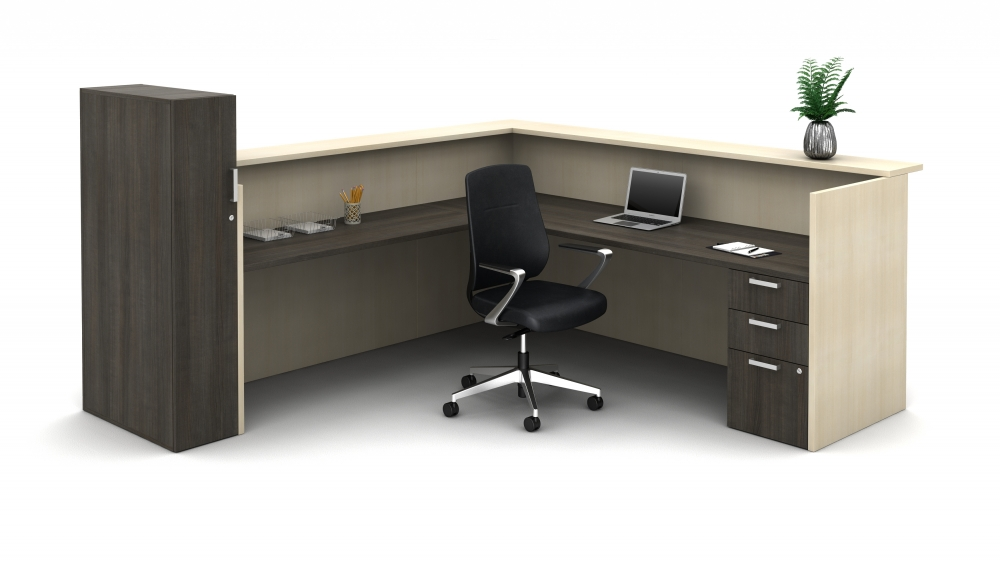Preview of Calibrate Laminate Casegoods Reception Station, interior view; Auburn seating