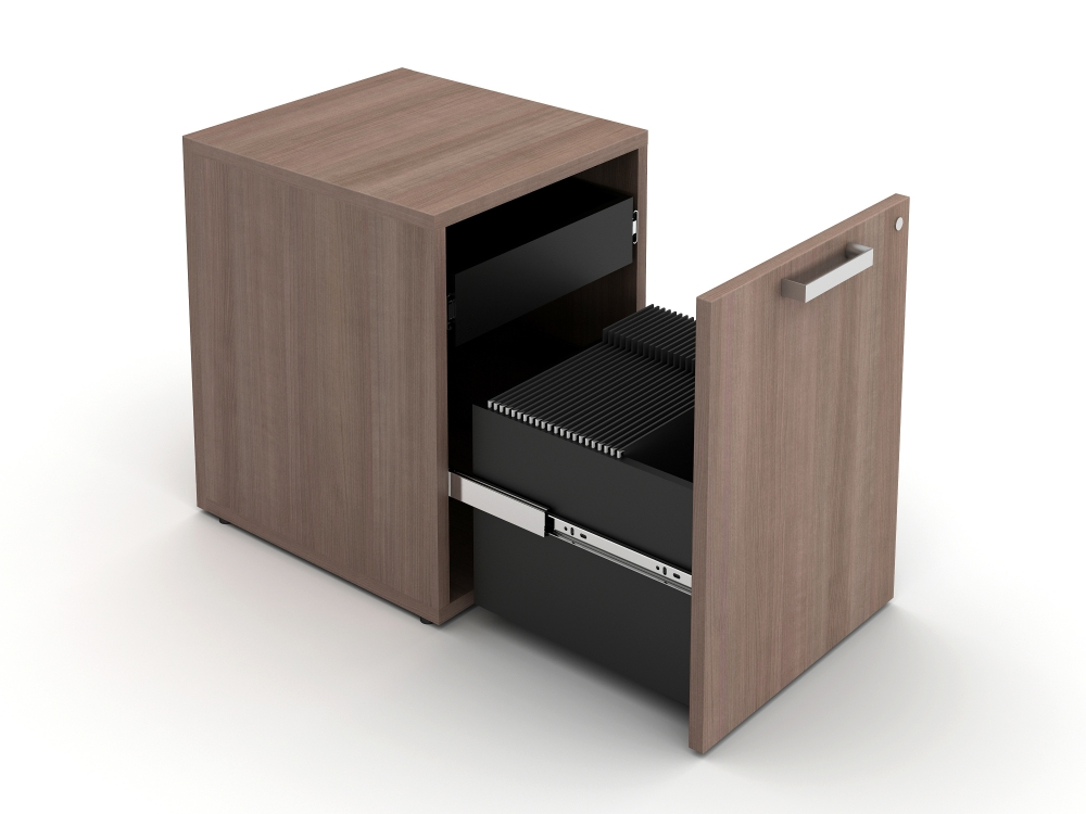 Preview of Calibrate Hidden Drawer Pedestal, shown with rectangle pull in Aimtoo Savatre