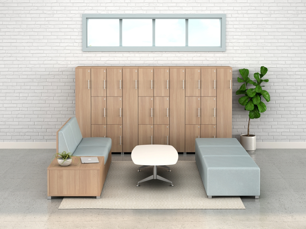 Preview of Calibrate Storage Lockers with LB Lounge and Day-to-Day Occasional Table, horizontal view