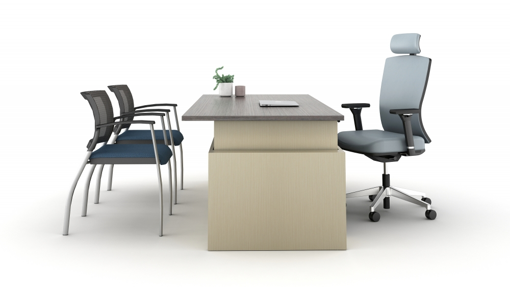 Preview of Calibrate Casegoods Telescoping Height Adjustable Executive Desk side view