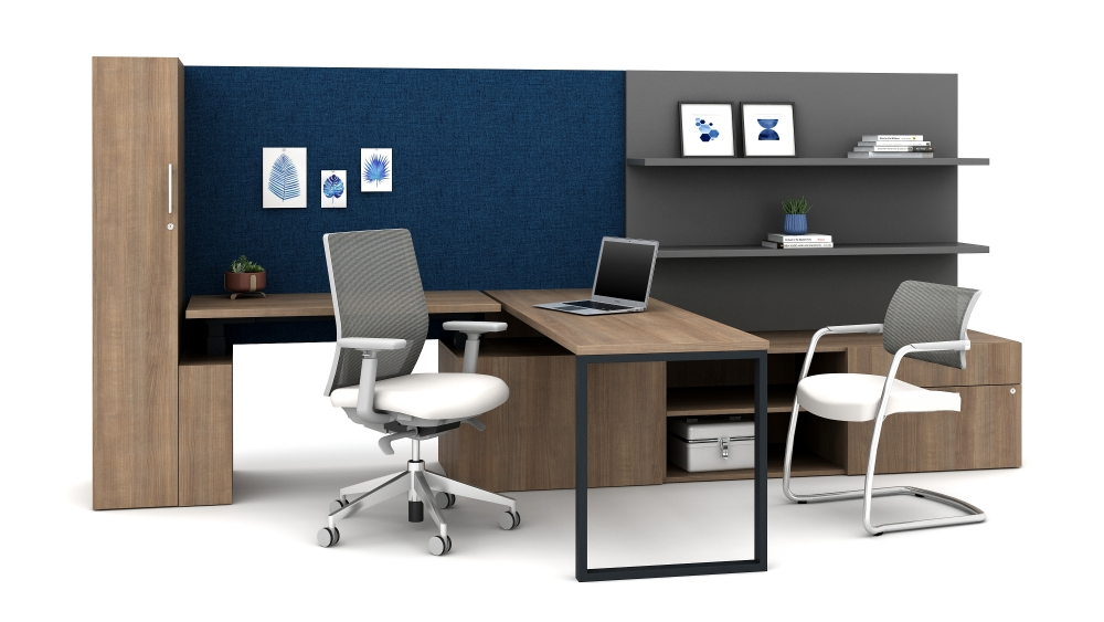 Preview of Calibrate Casegoods with L Shelf and height adjustable table below tackboard, return worksurface with O-Leg