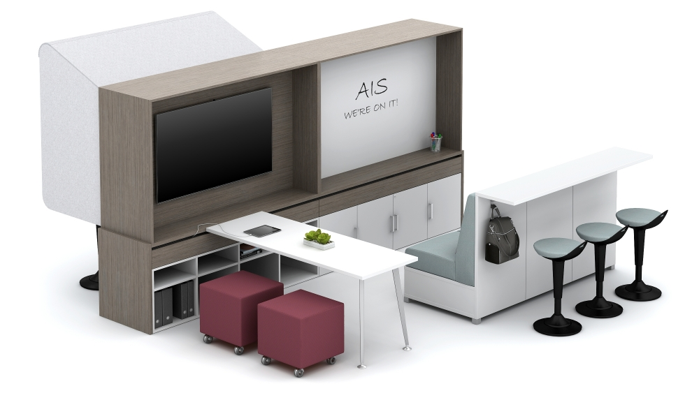 Preview of Calibrate Community Workwall with Integrated Technology and Whiteboard, Sliding worktops, Volker Seating and LB Ledge Floorplate Area 15b