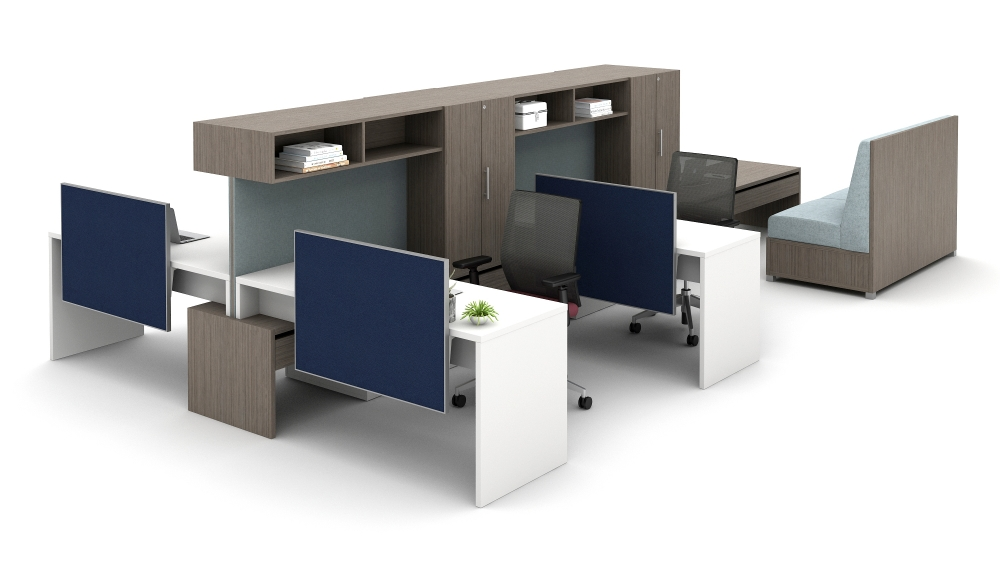Preview of Community with Cantilevered Overheads, Stacked Desks and LB Lounge Collaborative Area