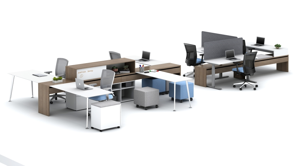 "Preview of Calibrate Community 29"" and 21"" Spine shown with Sliding Tables, Height Adjustable Desks and Stack Desk"