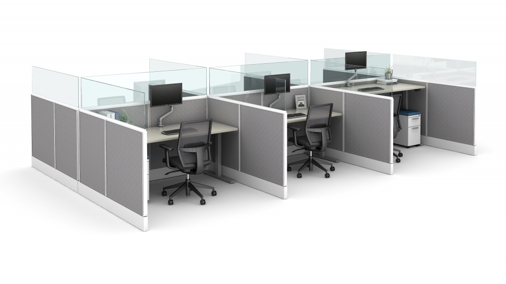 """Preview of Divi Linear with 16"""" Channel supported panel mount glass and Height Adjustable Tables"""