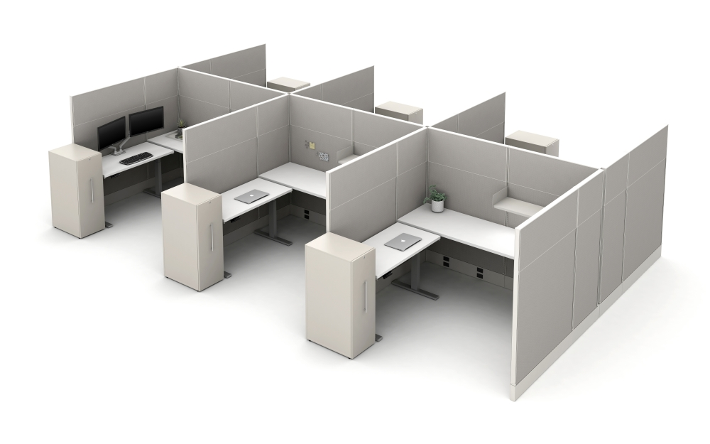 """Preview of Divi Panels with 16"""" Fabrick stacks (66"""" total height), Height Adjustable Tables, and Calibrate Storage"""