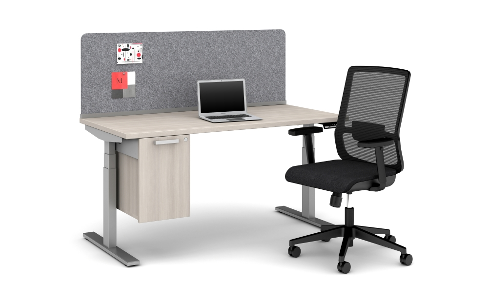 Preview of Day-to-Day 60 x 30 Height Adjustable Table with PET Channel Screen, Calibrate Suspended Storage and Essex Seating