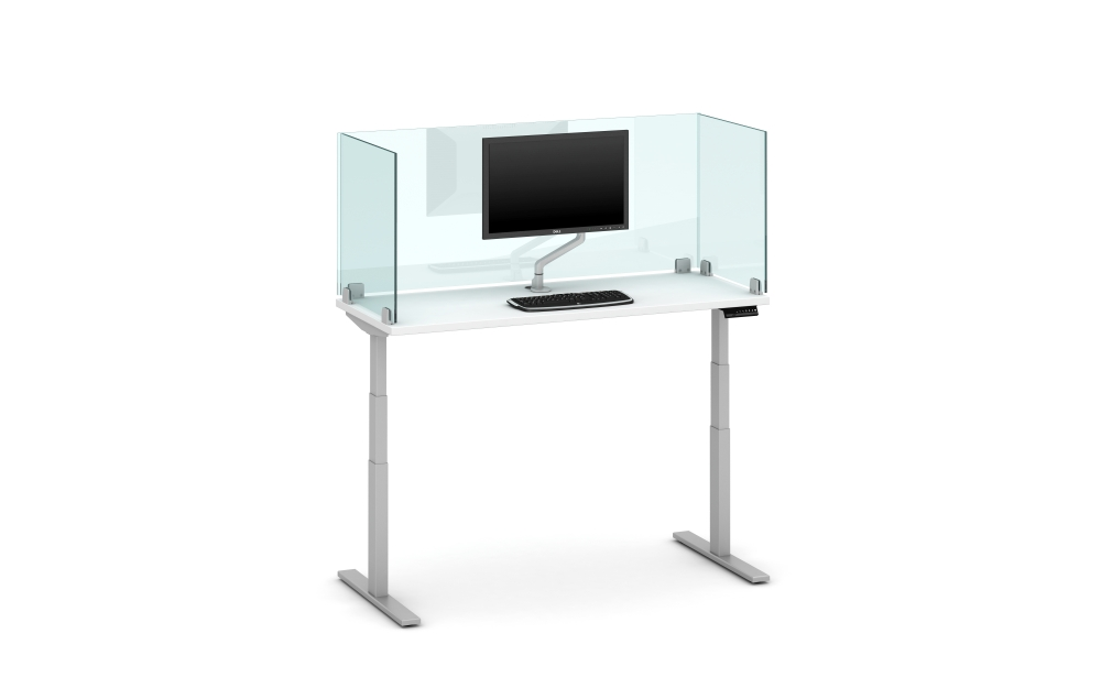 "Preview of Day-to-Day Height Adjustable Table with 24"" Glass Clip Supported Screen, Surface Mounted"