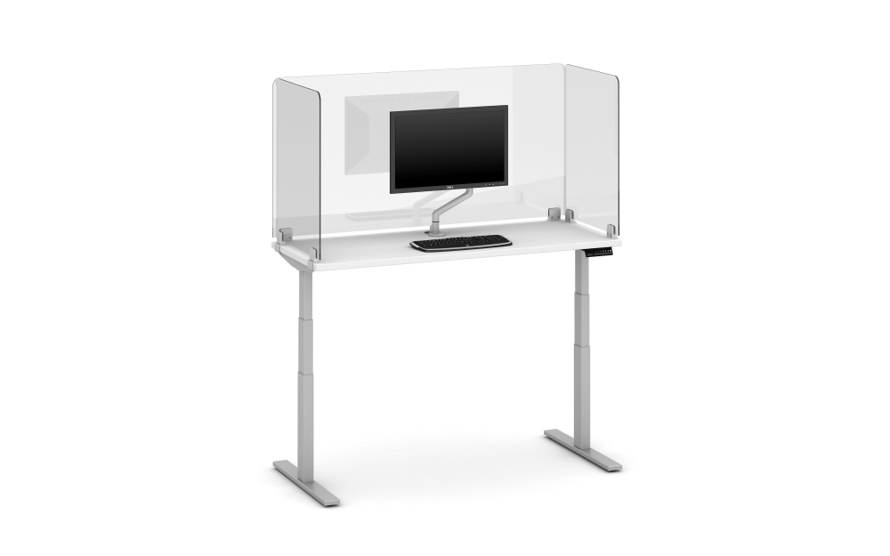 Preview of Day-to-Day Height Adjustable Table with Surface Mount Clip Supported Lexan Screen (32