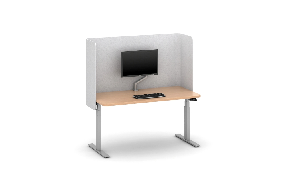 Preview of PET Partial Modesty U Wrap Screen (Light Grey) on Day-to-Day Height Adjustable Table