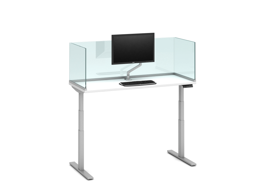 """Preview of Day-to-Day Height Adjustable Table with Channel Supported, surface-mount 20"""" Glass Screens and attached Monitor Arm"""