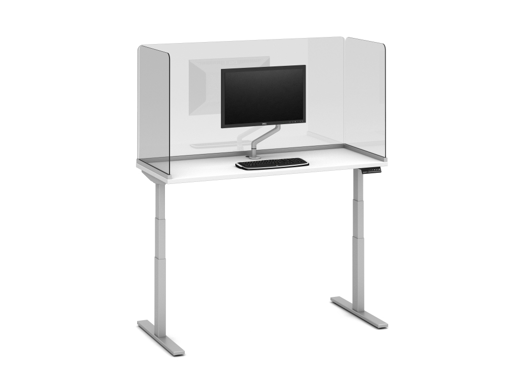 "Preview of Day-to-Day Height Adjustable Table with Channel Supported, surface-mount 32"" Lexan Screens and attached Monitor Arm"