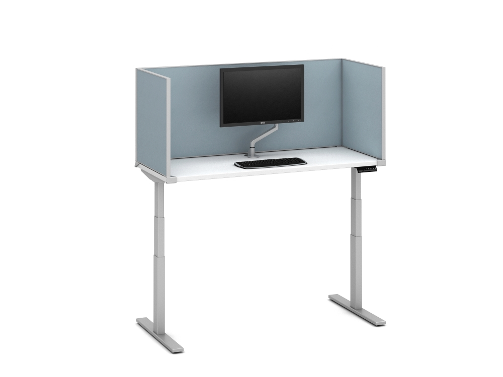 """Preview of Day-to-Day Height Adjustable Table with Slimline undersurface-mount 24"""" H Vinyl Screens and attached Monitor Arm"""