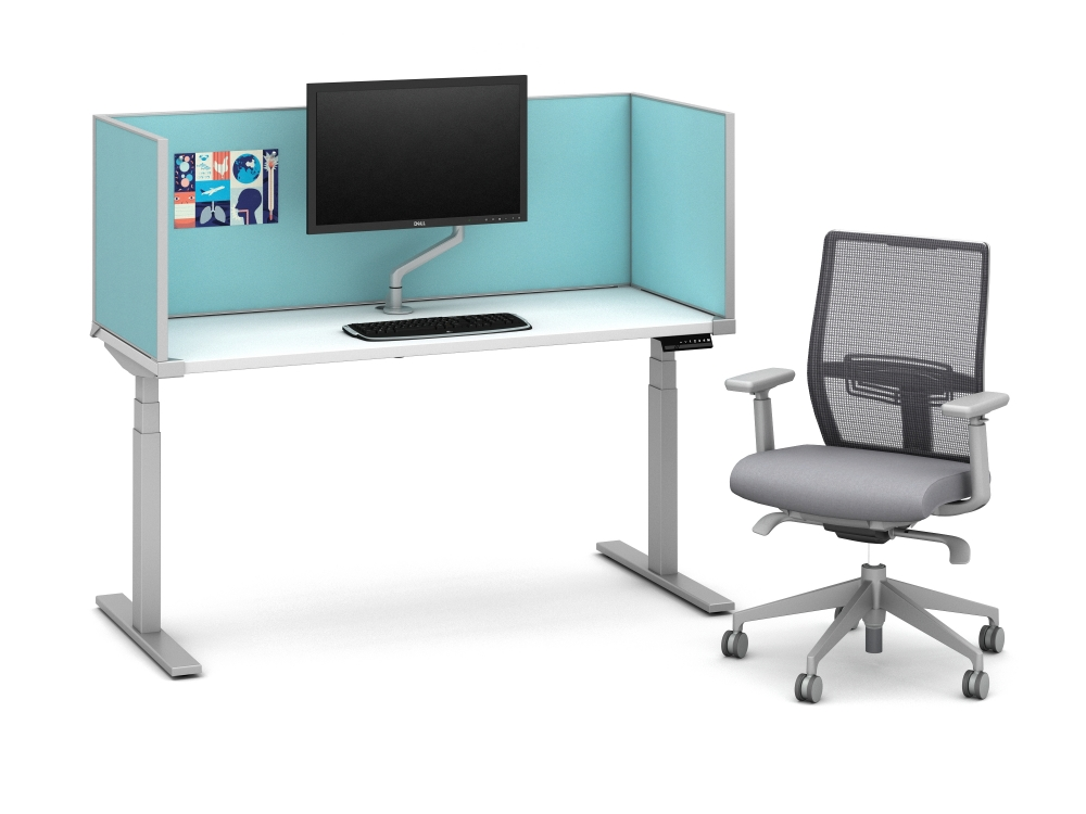 """Preview of Day-to-Day Height Adjustable Table at seated height with Slimline undersurface-mount 20"""" H Antimicrobial Fabric Screens and attached Monitor Arm"""