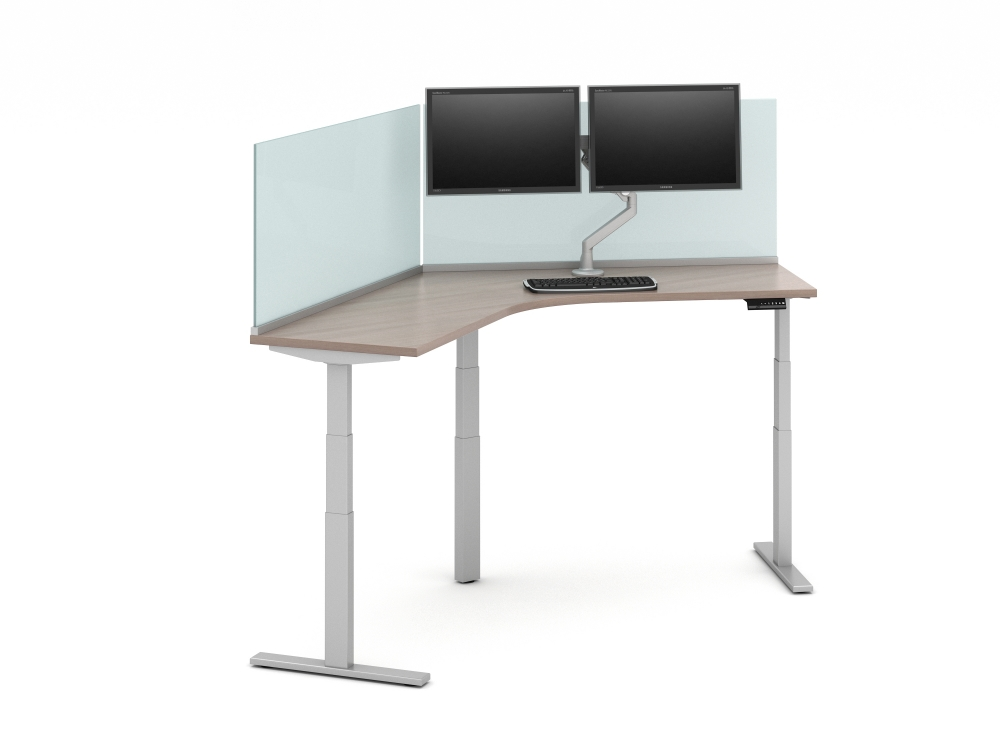 "Preview of Day-to-Day 120 Degree Height Adjustable Table with 24"" Glass Channel Supported Surface-mount Screens and attached Monitor Arm"