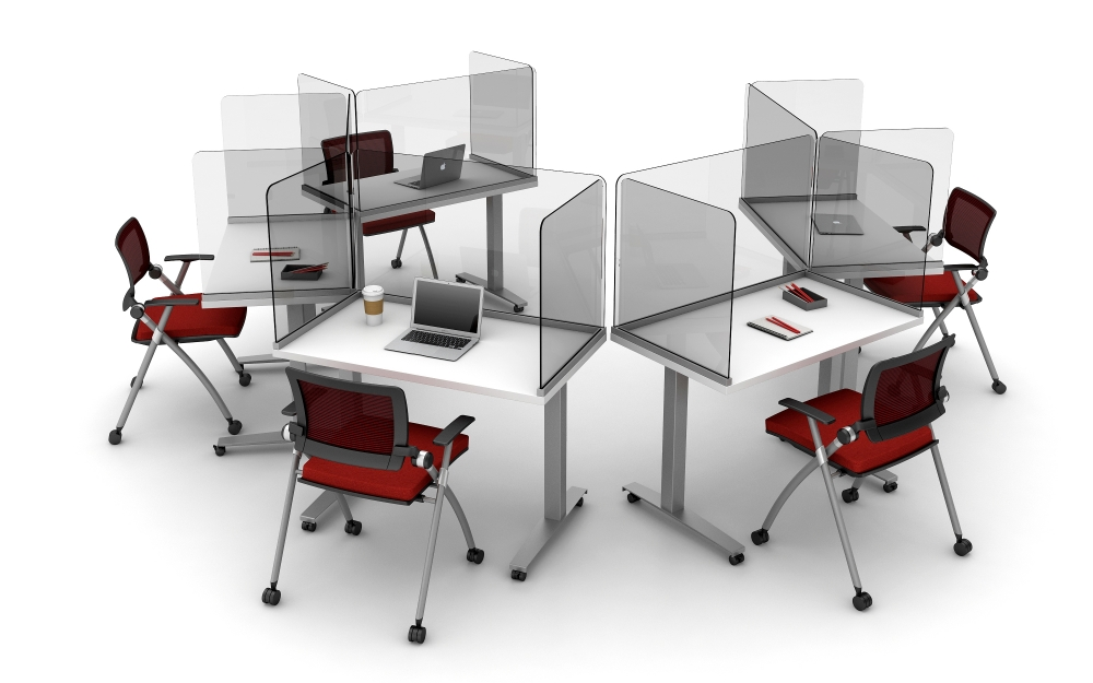 Preview of Day-to-Day C-Leg Tables on Casters with Lexan Surface Mounted Channel Screens and Stow Seating