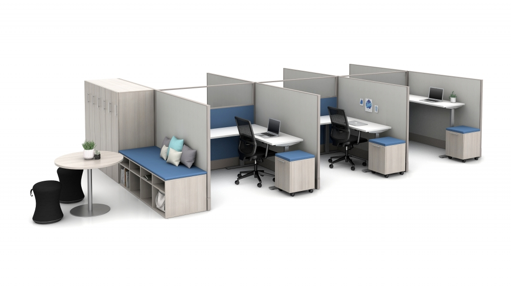 """Preview of Divi 72"""" fabric and glass panels with 3-leg Height Adjustable Tables, Calibrate Storage and lockers, Disc Base Occastional Table; Sulli and Essex Seating"""