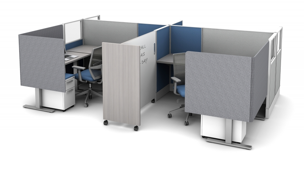 Preview of Divi Workstation with Extended PET L Wrap Partial Modesty Screens and Tri-wheel mobile whiteboard for division