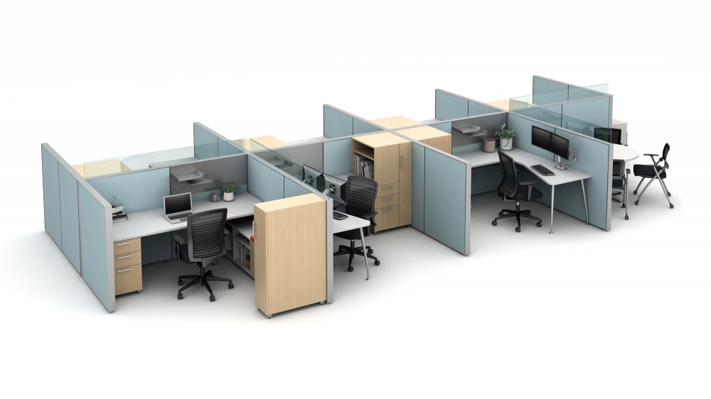 Preview of Matrix seven workstation pack with meeting area, upmount glass around the managers office and meeting space