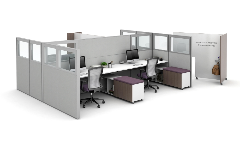 Preview of Matrix with Quarter Glass Panels, Tri-wheel Laminate Mobile Whiteboard to divide stations, and Calibrate Storage