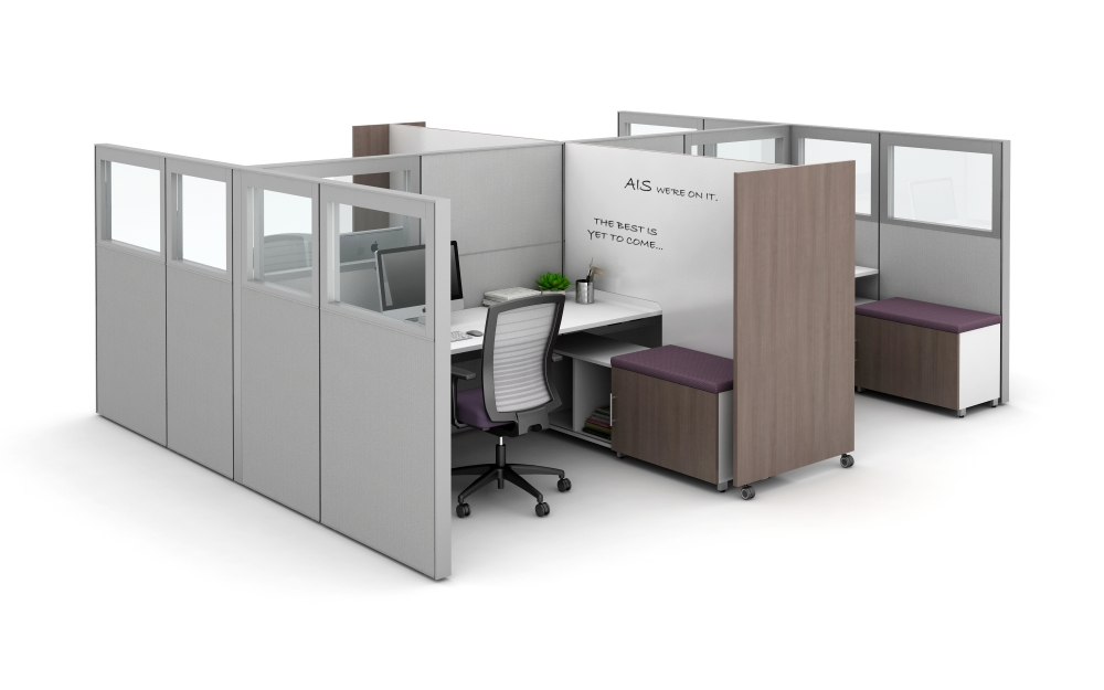 Preview of Matrix with Quarter Glass Panels, Tri-wheel Mobile Whiteboard to divide stations, and Calibrate Storage