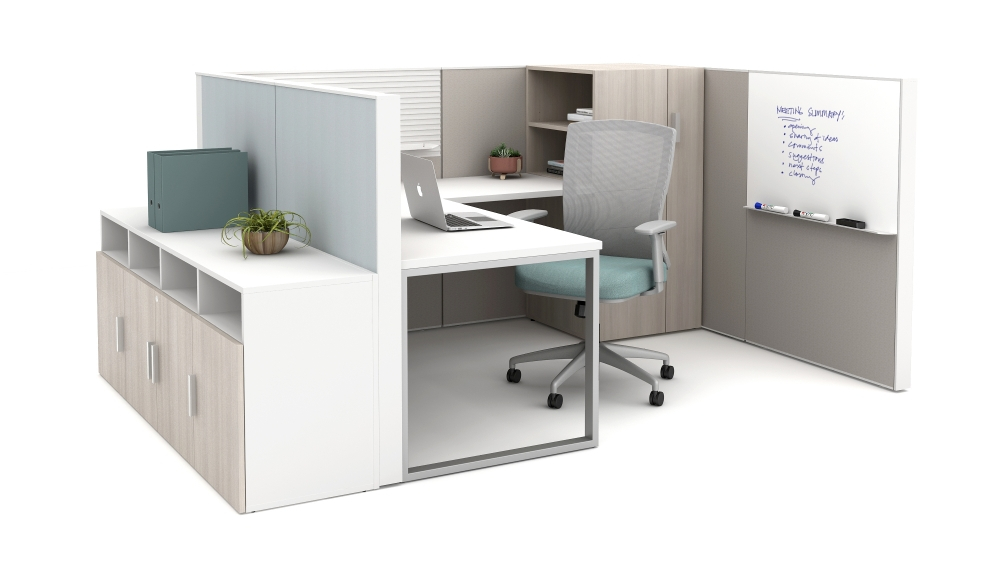 Preview of Matrix with O-Leg Worksurfaces, slat tile, markerboard, Calibrate storage and Natick Seating