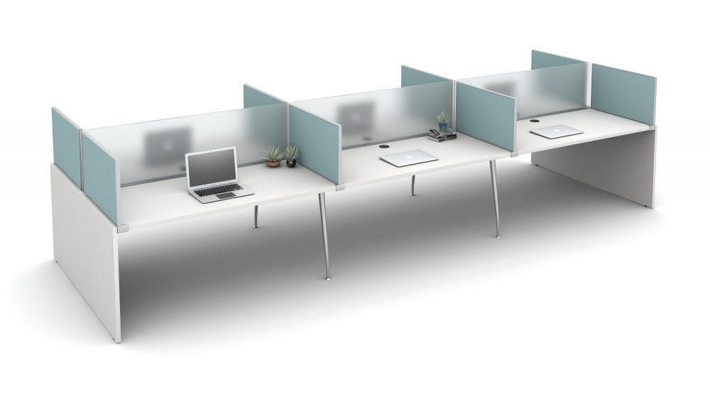 """Preview of Oxygen with 16"""" Frosted Glass Spine Screens and 16"""" Slimline Fabric Surface Mount Territory Screens"""