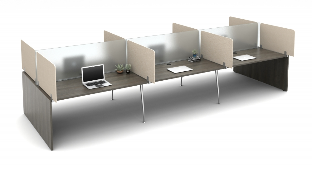 """Preview of Oxygen with PET Territory Screens Specified to Extend 6"""" beyond the worksurface with Lexan Spine Screens"""
