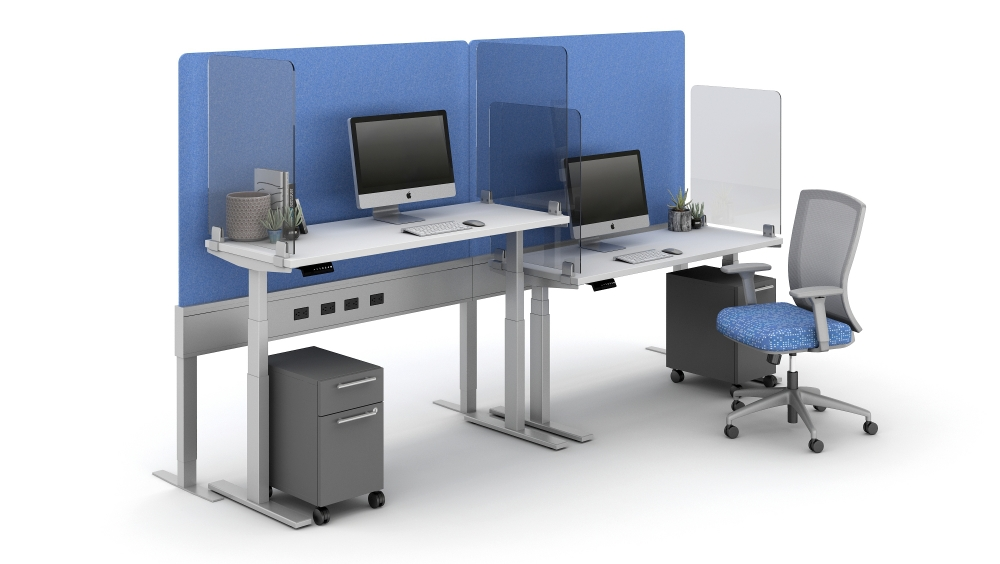 """Preview of 40"""" PET Screen incorporated into PowerBeam Spine and Lexan Territory Screens shown with Day-To-Day HAT tables and Natick Seating"""