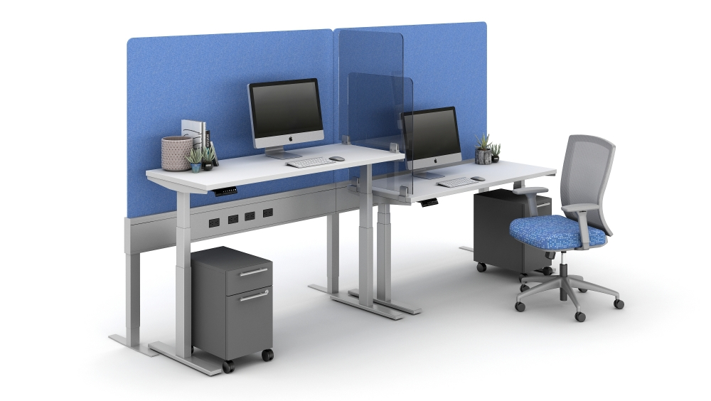 """Preview of 40"""" PET Screen incorporated into PowerBeam Spine and Lexan Territory Screens between stations shown with Day-To-Day HAT tables and Natick Seating"""