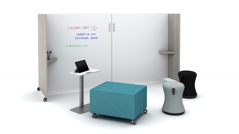 Preview of Tri-Wheel Mobile Laminate Whiteboard/Divider with Laptop Table, LB Ottoman and Sulli