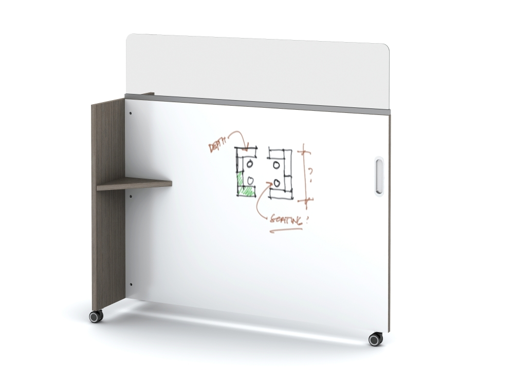 Preview of Tri-Wheel Laminate Mobile Whiteboard/Divider with Lexan Channel Screen
