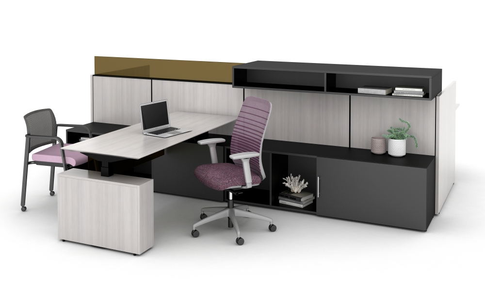 Preview of Matrix Spine Open Plan Panel System with Height Adjustable Calibrate Series Desking and Storage, Upmount Overheads and Glass, and Bolton and Paxton Seating.