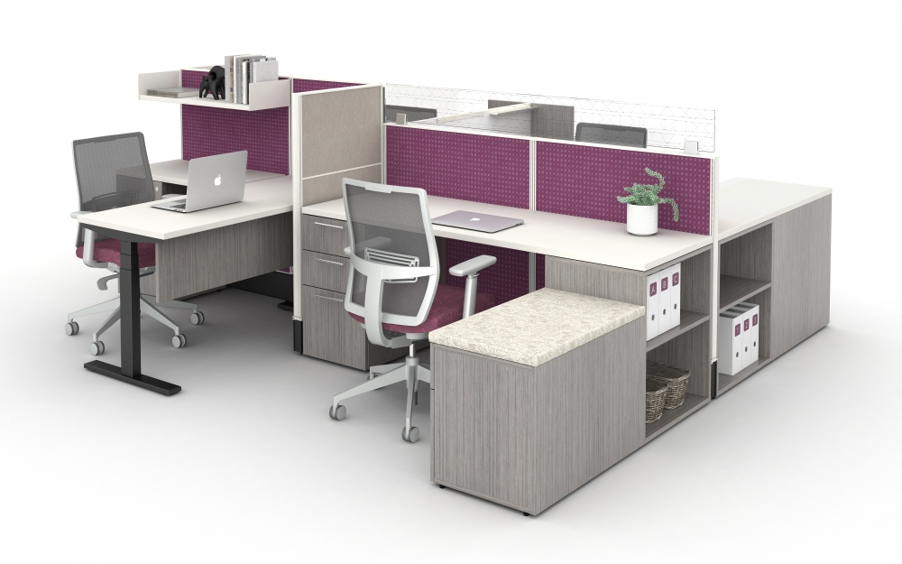 Preview of Divi Open Plan Workstation with Upmount Glass. Shown with Devens Task Seating and Calibrate Series Storage.